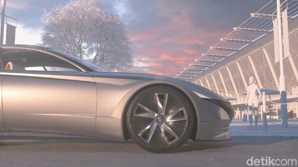Sistem pengisian baterai masa depan ini disebut Hyundai sebagai electric vehicle wireless charging system with the Automated Valet Parking System (AVPS). Nah kira-kira kapan bisa kejadian ya? Foto: Hyundai