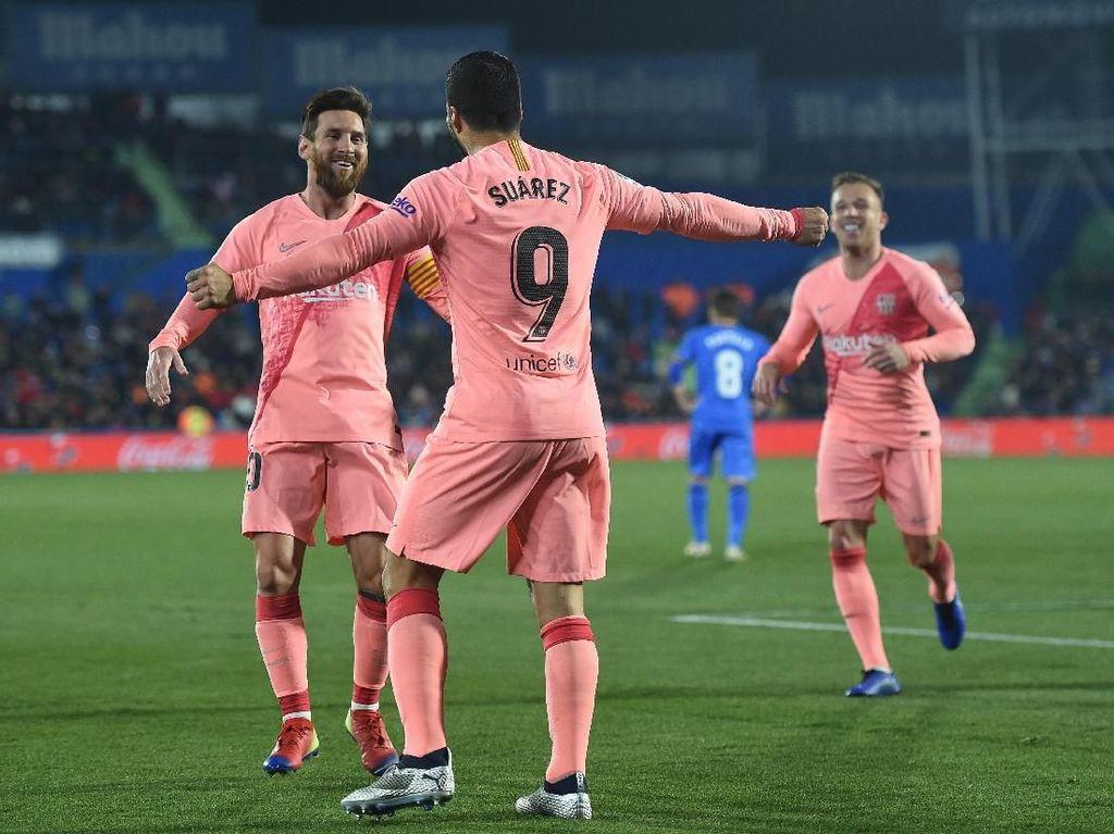 Gol Messi dan Suarez Menangkan Barcelona atas Getafe