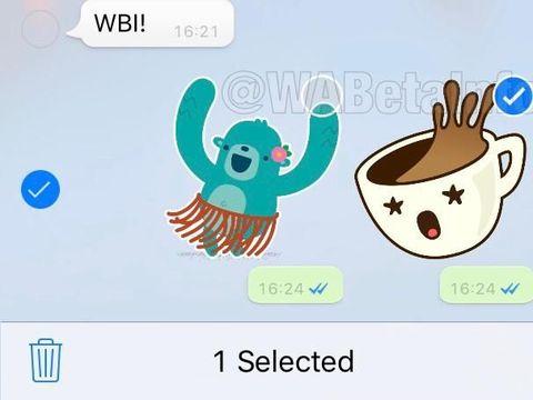 Tiap stiker dalam kelompok juga bisa diteruskan secara terpisah