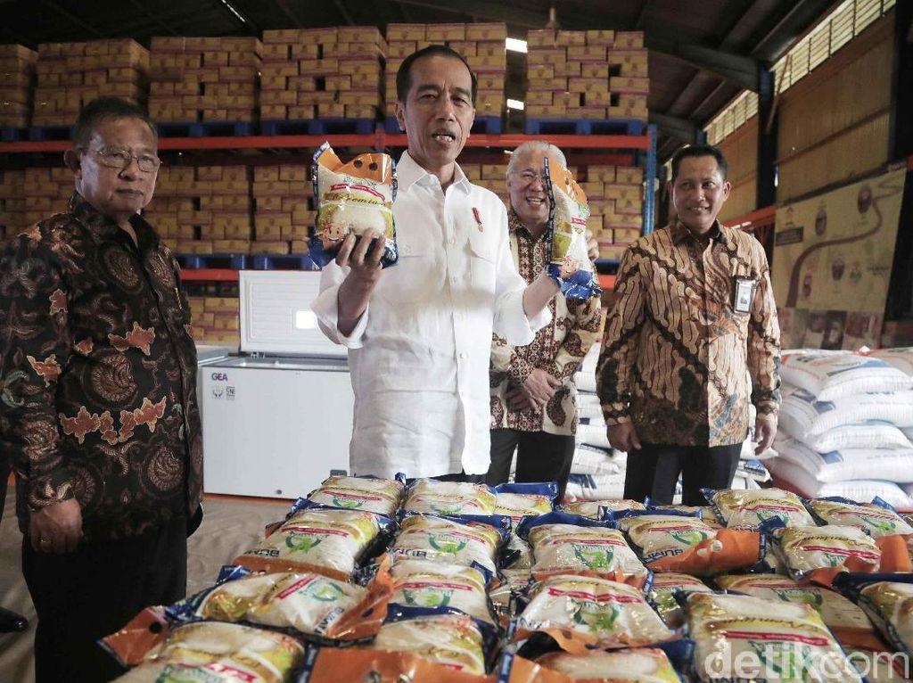 Potret Jokowi Cek Stok Beras di Gudang Bulog