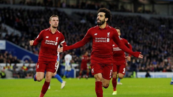 Penalti Mohamed Salah menangkan Liverpool 1-0 di kandang Brighton (Paul Childs/Action Images via Reuters)