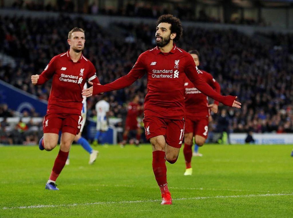 Hasil Liga Inggris: Penalti Salah Menangkan Liverpool di Markas Brighton