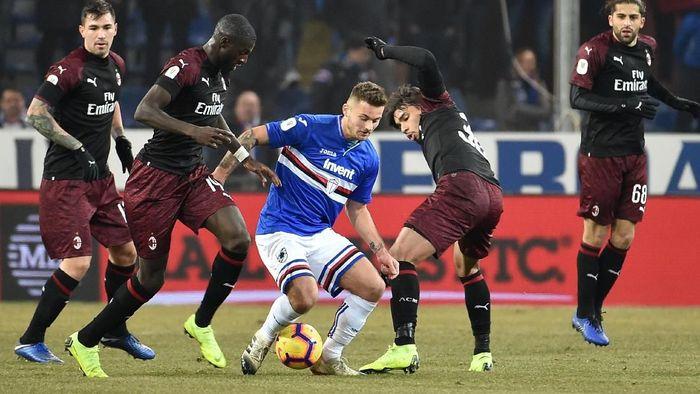 AC Milan melangkah ke perempatfinal Coppa Italia usai kalahkan Sampdoria 2-0 (Paolo Rattini/Getty Images)