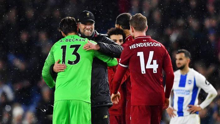 Juergen Klopp senang dengan kemenangan susah payah Liverpool di markas Brighton (Dylan Martinez/REUTERS)