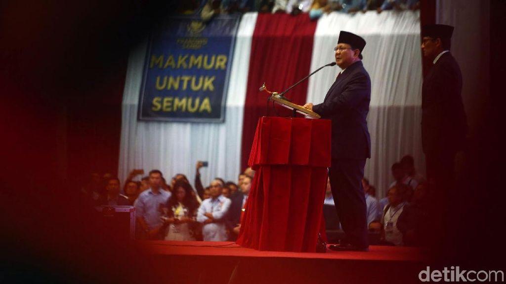 Berapi-api, Prabowo Sampaikan Pidato Kebangsaan