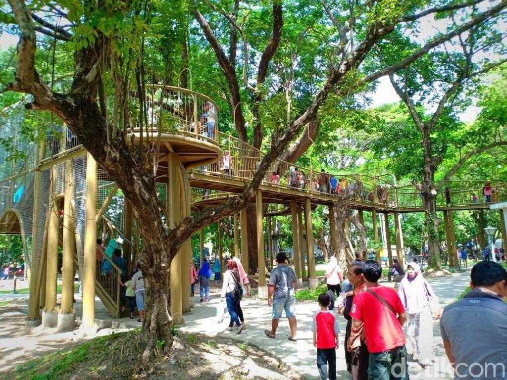 Cantiknya Wajah Baru Hutan Joyoboyo Kediri dengan Skybridge