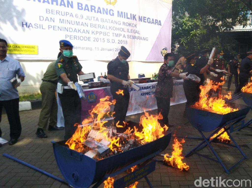 6,9 Juta Rokok Ilegal Dimusnahkan di Semarang, Rugikan Negara Rp 3 M