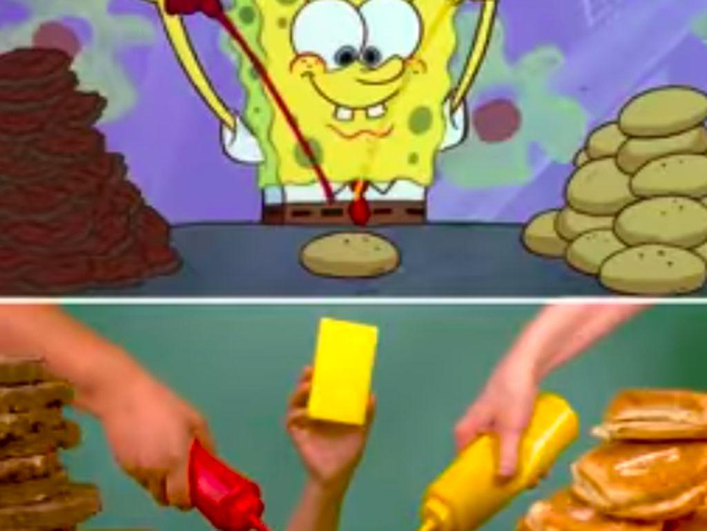 Aksi Seru SpongeBob Lagi Masak Krabby Patty Ini Disukai Penggemarnya