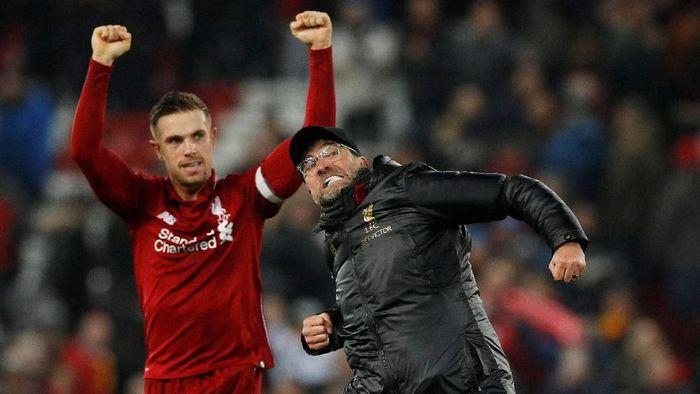 Manajer Liverpool, Juergen Klopp, merayakan kemenangan atas Crystal Palace. (Foto: Phil Noble/Reuters)