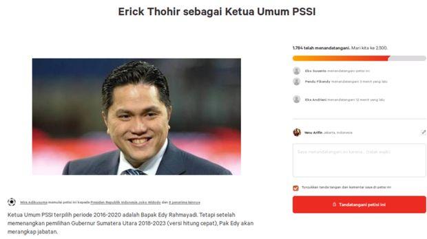 Petisi Erick Thohir sebagai ketua umum PSSI