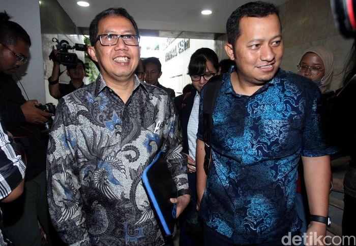 Plt Ketua Umum PSSI Joko Driyono memenuhi panggilan kepolisian untuk diperiksa terkait kasus dugaan pengaturan skor, Jakarta, Kamis (24/1/2019).