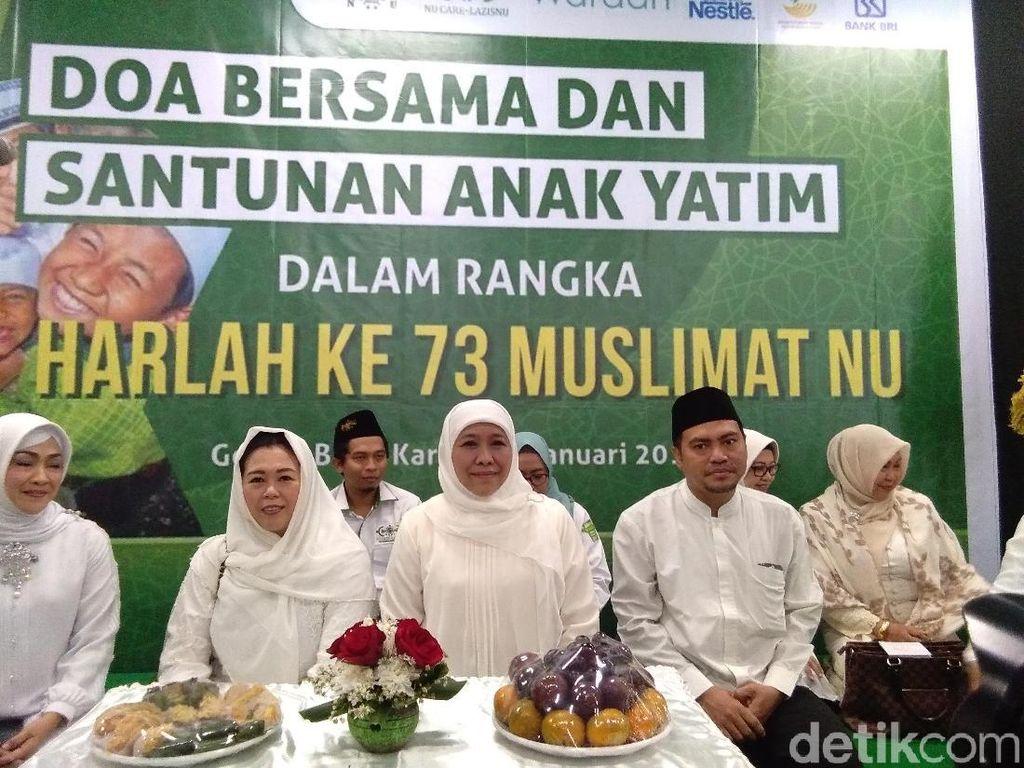 Jelang Harlah Muslimat NU Ke-73, Khofifah-Yenny Doa Bareng Anak Yatim