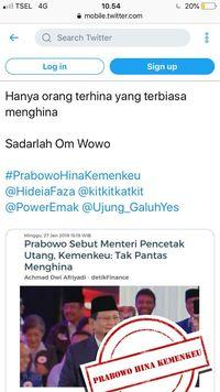 Ramai #PrabowoHinaKemenkeu di Medsos