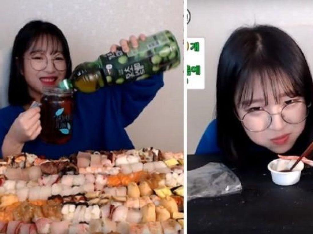 Nyam! YouTuber Cantik Ini Berhasil Lahap 240 Sushi