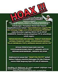 Beredar Maklumat Habib Rizieq Tinggalkan Prabowo-Sandi, FPI Pastikan Hoax