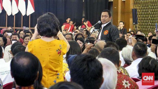 Wali Kota Semarang Hendrar Prihadi, Ketua Pantia silaturahmi Paguyuban Pengusaha Jawa Tengah (PPJT) dengan calon presiden nomor 01 Joko Widodo di Semarang Town Square, Sabtu (2/2).