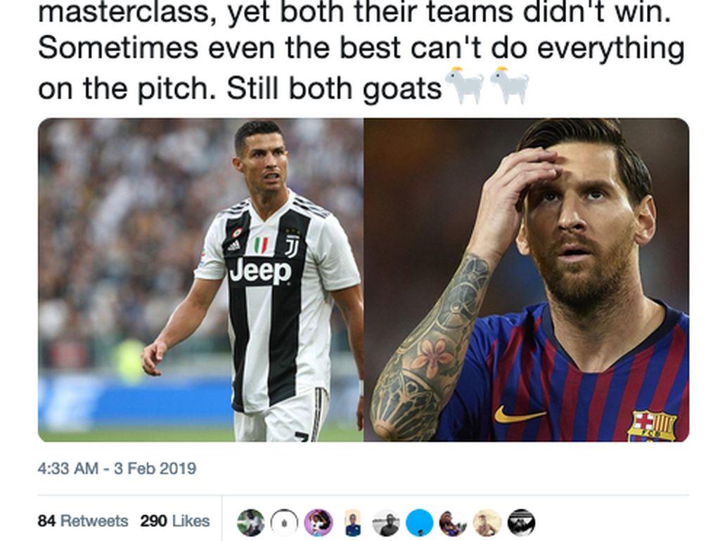 Ragam Meme Messi vs Ronaldo, Beda Liga tapi Masih Saingan
