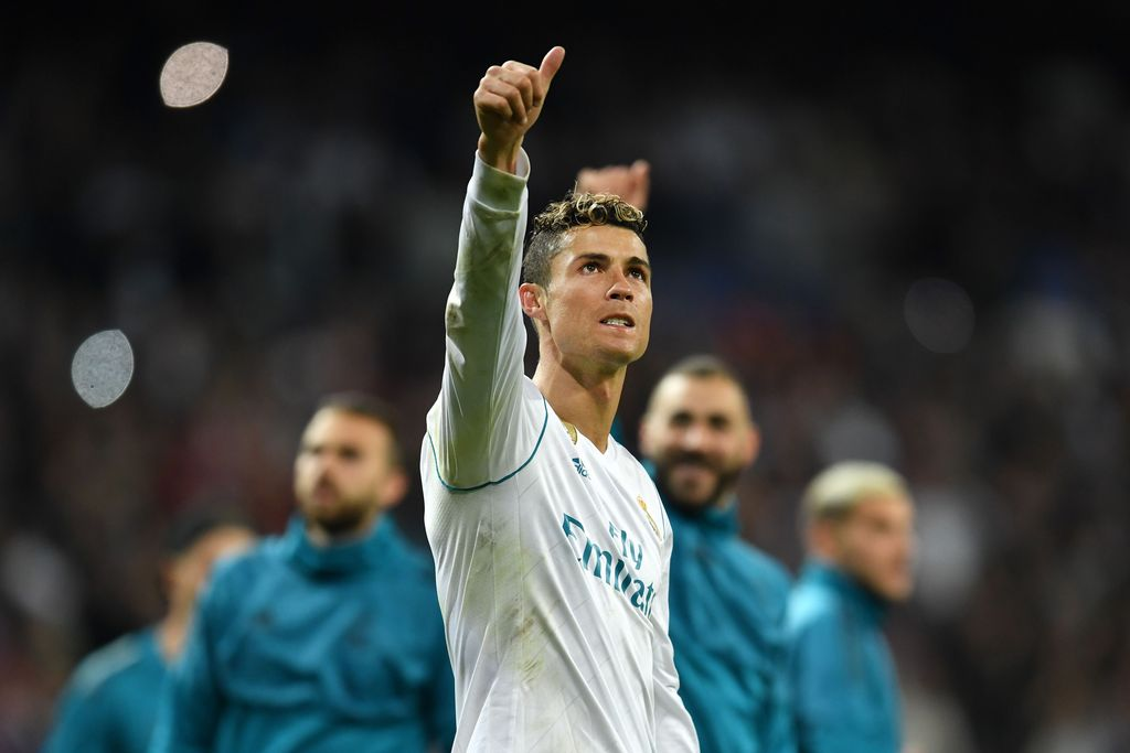 MADRID, SPAIN - MAY 01:  Cristiano Ronaldo of Real Madrid celebrates as they reach the final after the UEFA Champions League Semi Final Second Leg match between Real Madrid and Bayern Muenchen at the Bernabeu on May 1, 2018 in Madrid, Spain.  (Photo by David Ramos/Getty Images)