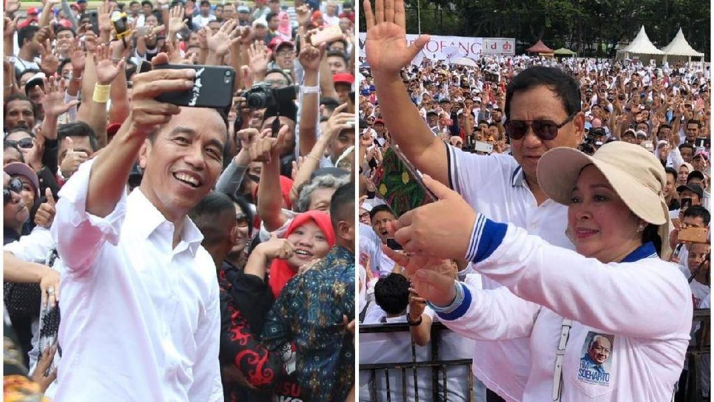 Potret Kampanye Akhir Pekan: Prabowo Jalan Sehat, Jokowi Sambut Dukungan
