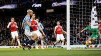 Aguero Dua Gol, City Unggul atas Arsenal di Babak I