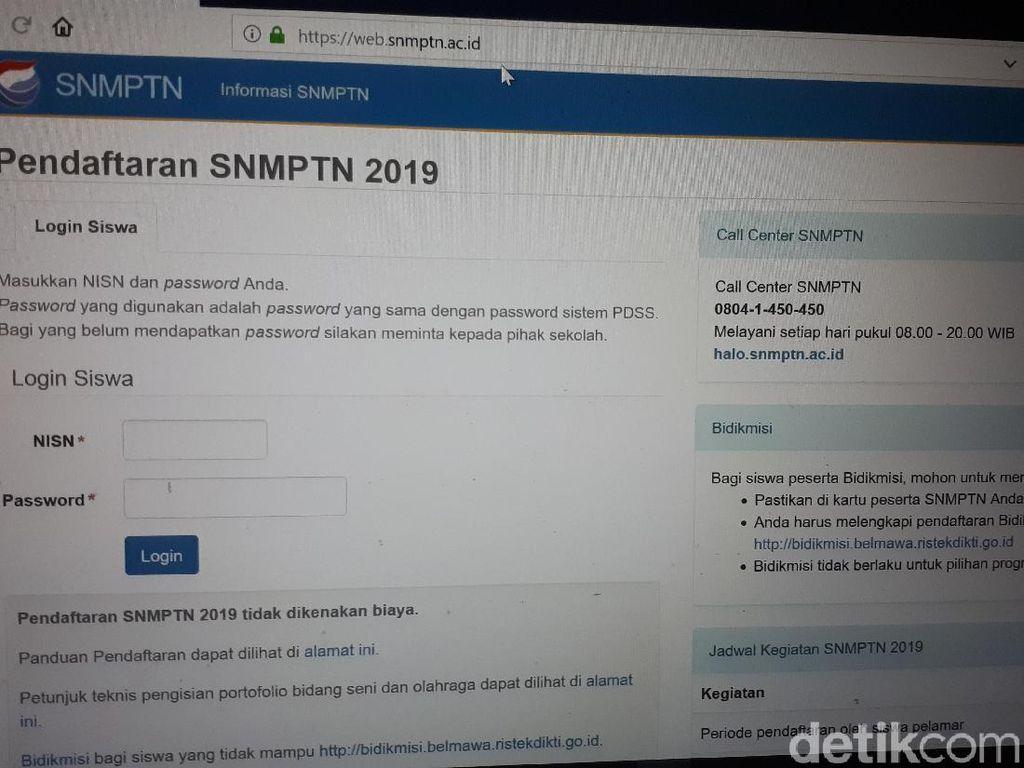 Sempat Bermasalah, Web Resmi SNMPTN 2019 Sudah Bisa Diakses Lagi