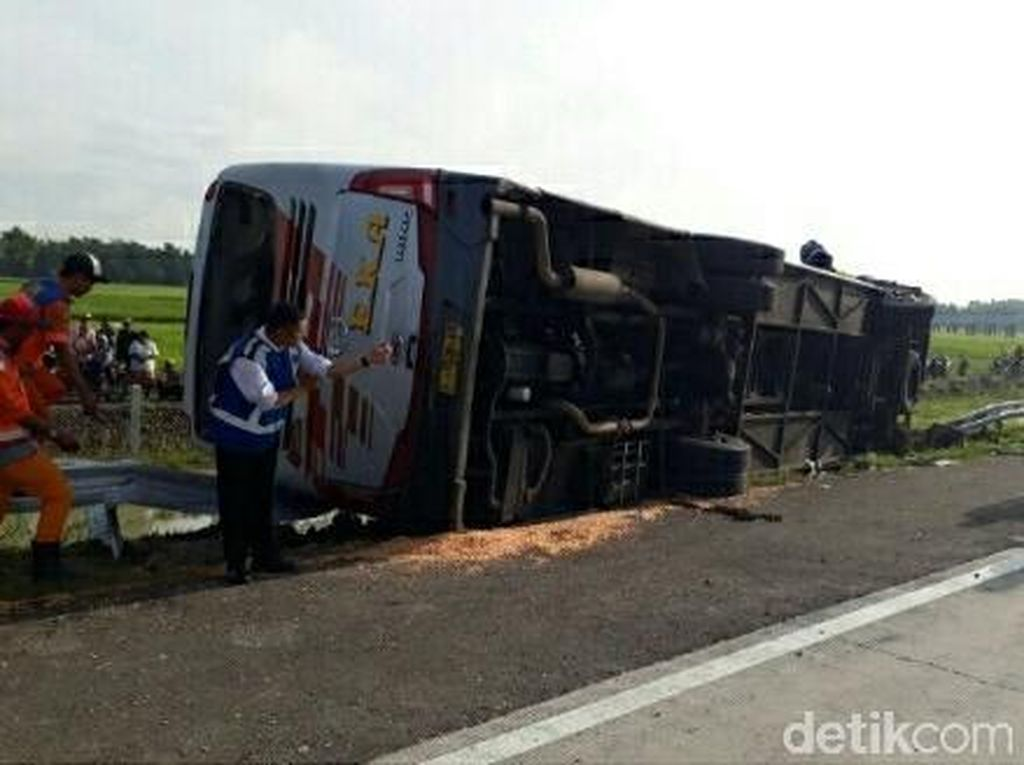 Bus Eka Tabrak Truk di Tol Nganjuk, Tiga Orang Tewas