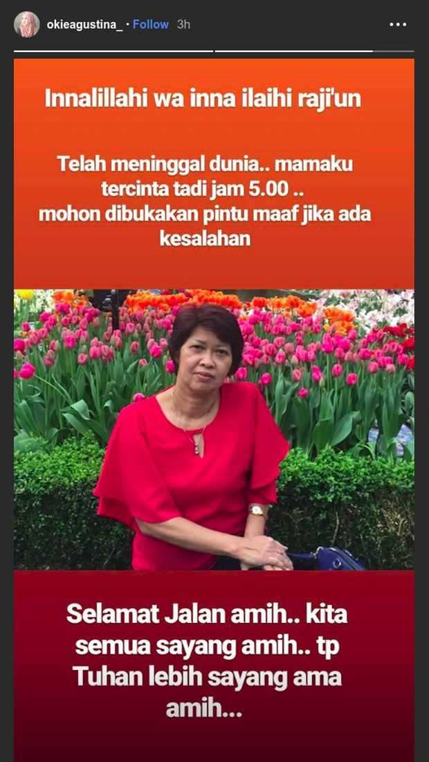 Ibunda Okie Agustina meninggal dunia