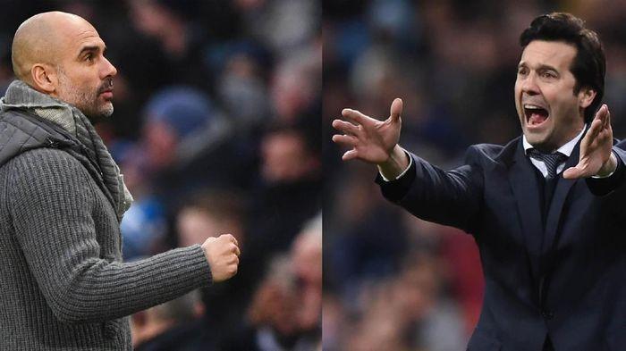 Pep Guardiola dan Santiago Solari. (Foto: Getty Images)