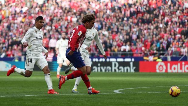 Griezmann mencetak satu-satunya gol bagi Atletico di Derby Madrid.
