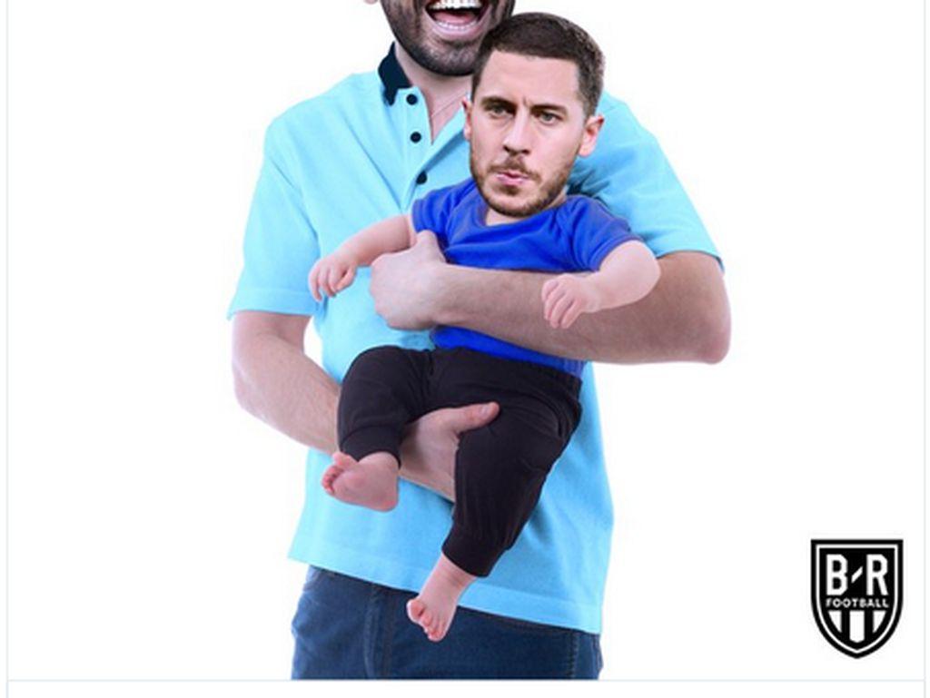 Meme Kocak Chelsea Dilumat City: Hazard Digendong Aguero