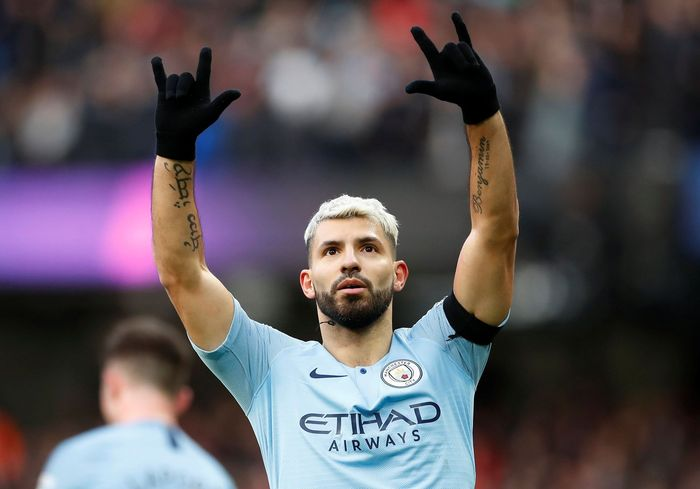 Soccer Football - Premier League - Manchester City v Chelsea - Etihad Stadium, Manchester, Britain - February 10, 2019  Manchester Citys Sergio Aguero celebrates scoring their second goal     Action Images via Reuters/Carl Recine