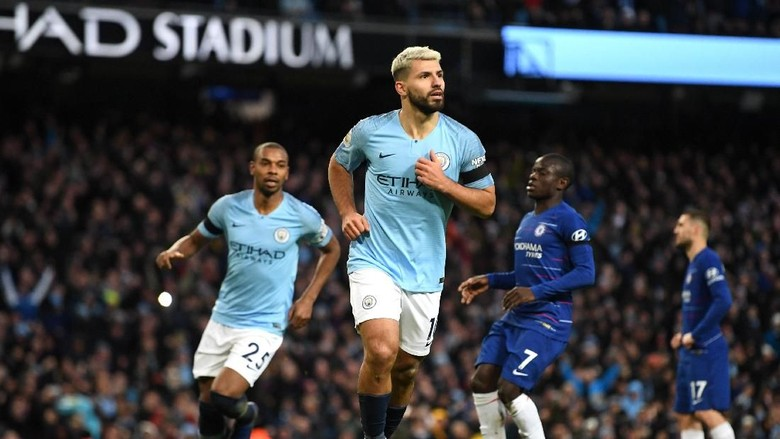 Image result for Aguero Hattrick, Manchester City Menang 6-0 atas Chelsea