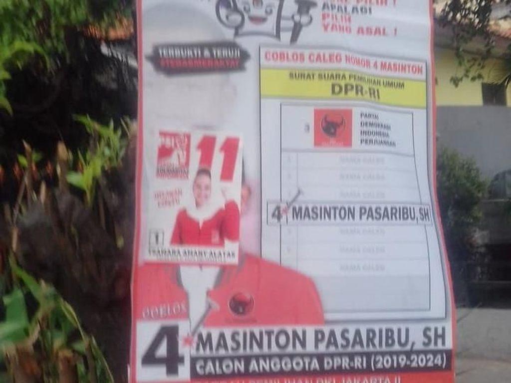 Masinton Protes Posternya Ditutup Stiker Caleg PSI