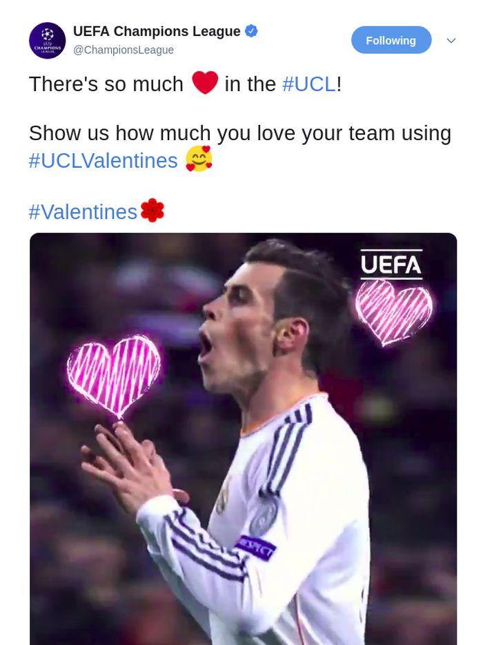 Akun Twitter Liga Champions itu memeriahkan Valentine Day dengan postingan aksi para pesepakbola di atas lapangan. (Foto: Istimewa)
