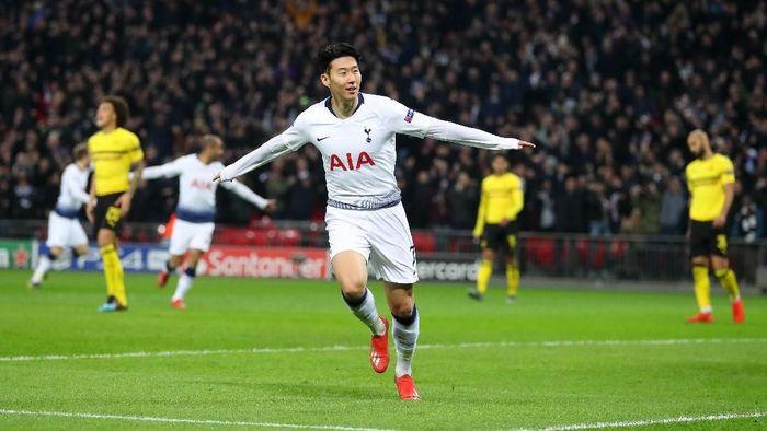 Son Heung-min mencetak satu gol ke gawang Borussia Dortmund. (Foto: Catherine Ivill/Getty Images)