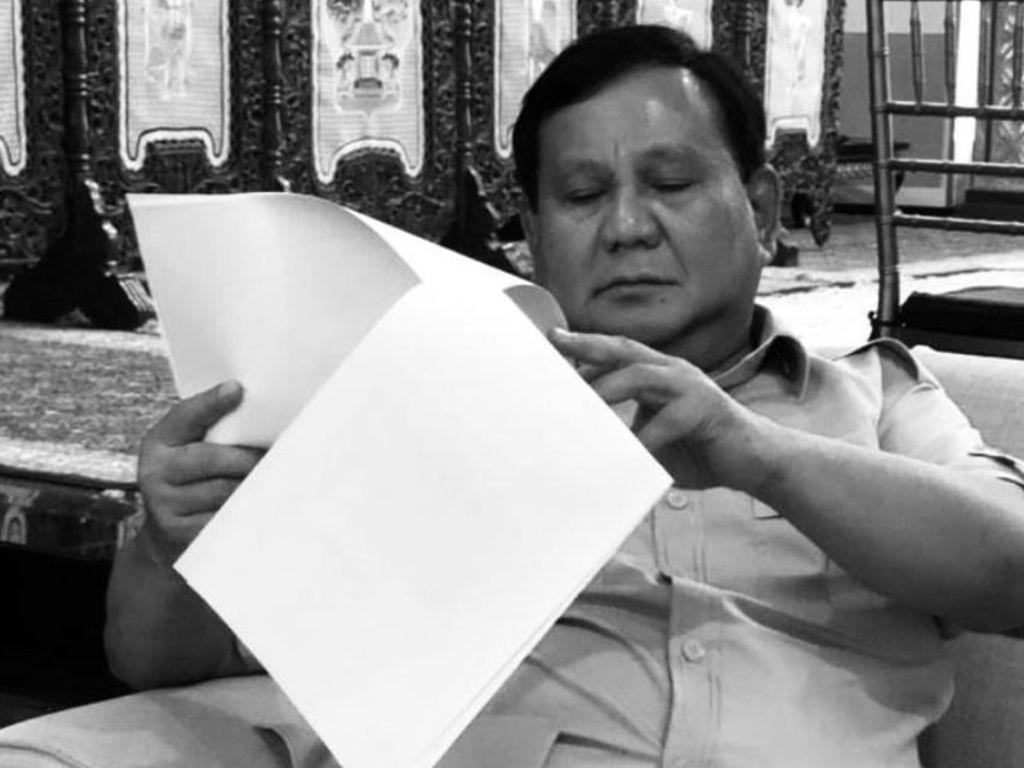 Jelang Debat Capres, Prabowo Baca Berkas Ditemani Bobby The Cat