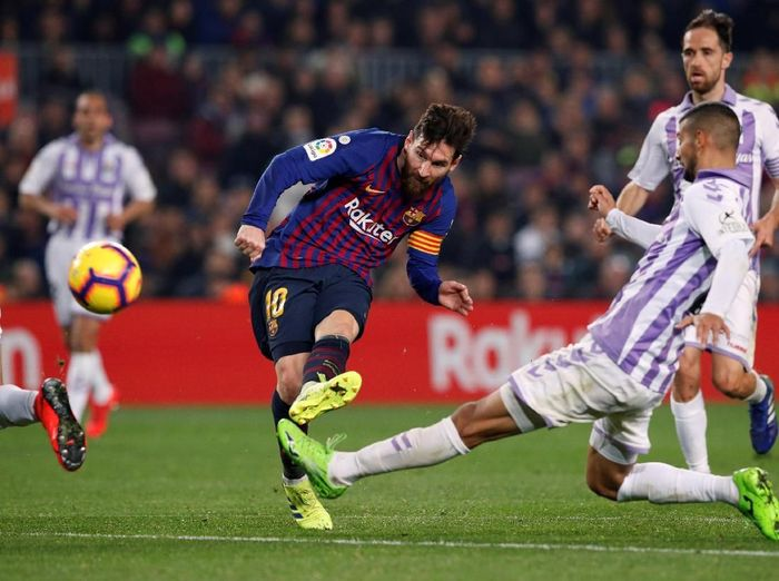 Lionel Messi di laga Barcelona vs Real Valladolid. (Foto: Albert Gea/Reuters)