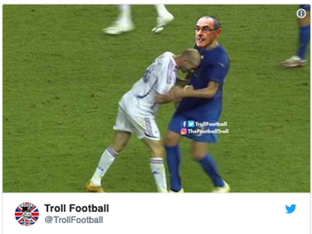 Chelsea Disingkirkan MU, Sarri Ditanduk Zidane