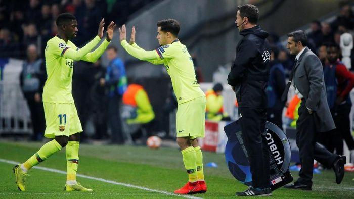 Coutinho dan Ousmane Dembele diragukan tampil di final Copa del Rey (Jean-Paul Pelissier/REUTERS)