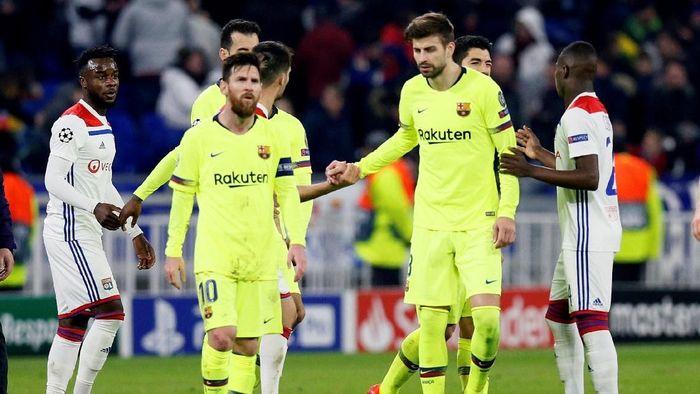 Barcelona harus puas dengan hasil 0-0 di markas Lyon dalam pertandingan leg pertama babak 16 besar Liga Champions (Foto: Emmanuel Foudrot/Reuters)