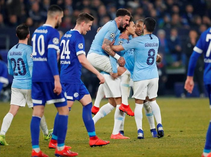 Manchester City menaklukkan Schalke dengan 10 pemain. (Foto: Matthew Childs/Action Images via Reuters)
