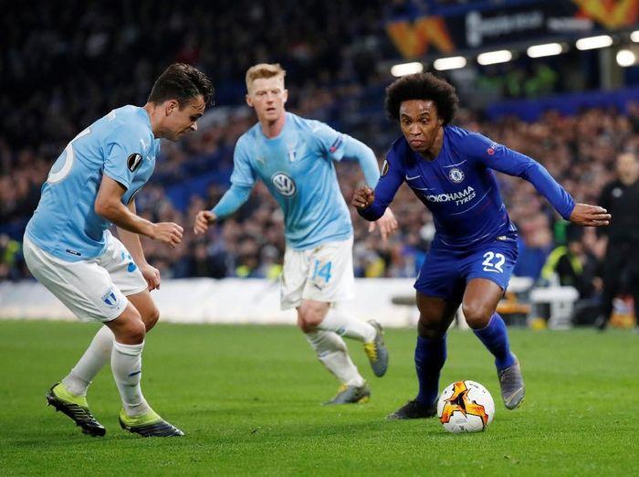 Chelsea memetik kemenangan 3-0 atas Malmo dalam pertandingan, Jumat (22/2/2019) dinihari WIB. Laga itu tak berlangsung mudah karena The Blues tertahan di babak pertama. (Foto: David Klein/Reuters)