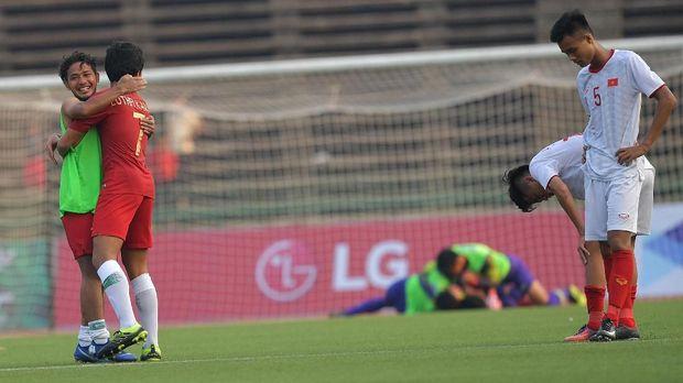 Timnas Indonesia U-22 kala menyingkirkan Vietnam di laga semifinal. (