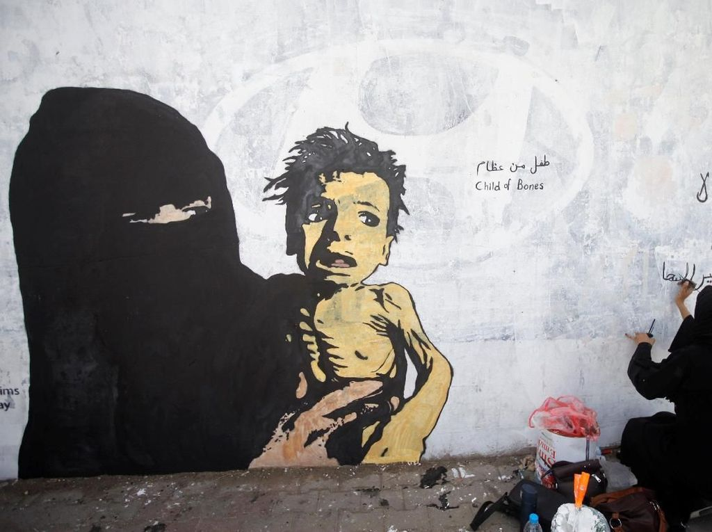 Mural Ibu dan Anak Korban Perang di Yaman Bikin Miris