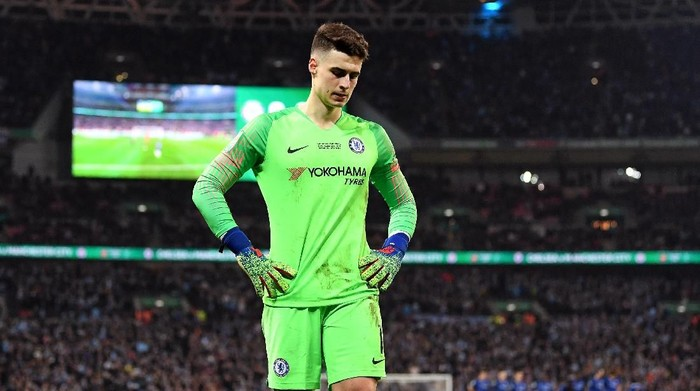 LONDON, ENGLAND - FEBRUARY 24:  Kepa Arrizabalaga of Chelsea looks dejected following the Carabao Cup Final between Chelsea and Manchester City at Wembley Stadium on February 24, 2019 in London, England.  (Photo by Michael Regan/Getty Images)