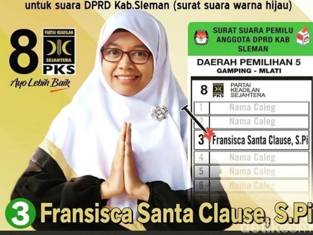 Viral Caleg PKS di Sleman Namanya Fransisca Santa Clause