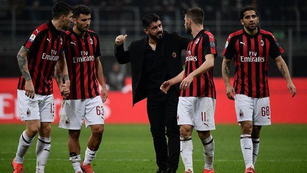 Ilustrasi laga AC Milan di Liga Italia. Di leg pertama semifinal Coppa Italia, mereka imbang tanpa gol lawan Lazio. (