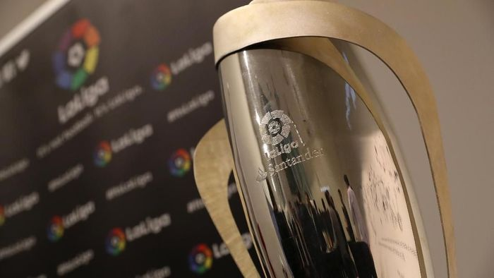 SINGAPORE, SINGAPORE - APRIL 17: The Spanish LaLiga trophy is seen before the International Champions Cup launch press conference on April 17, 2018 in Singapore. (Photo by Lionel Ng/Getty Images)