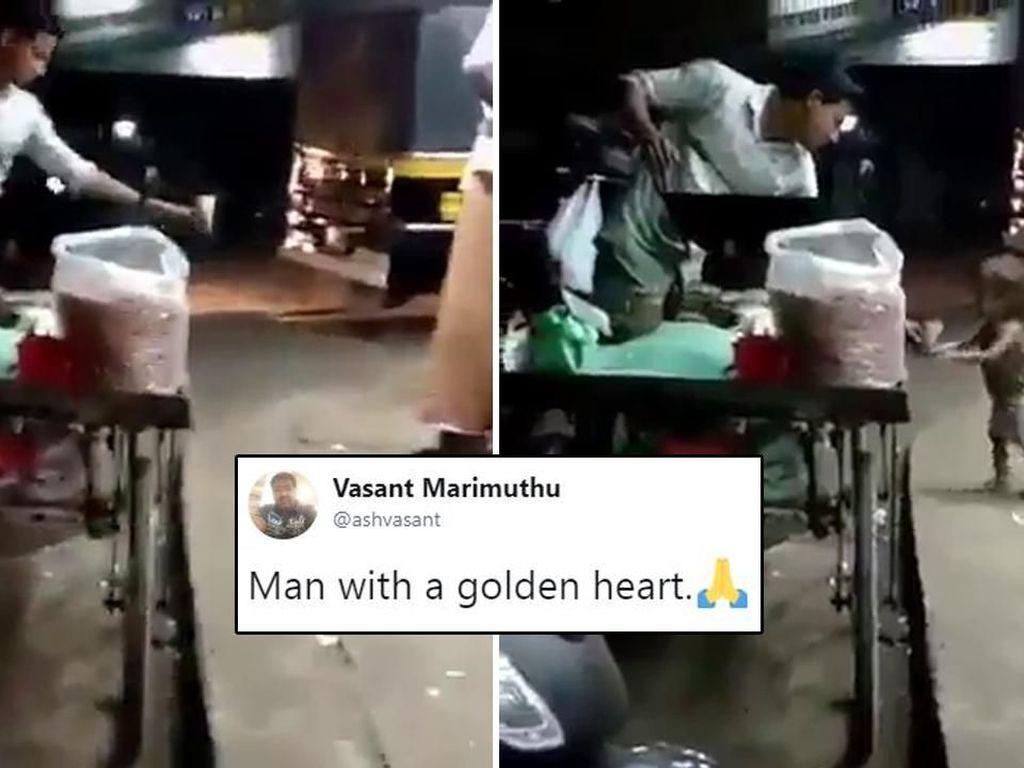 Penjual Makanan Ini Berikan Makanan Gratis untuk Anak Kecil di Pinggir Jalan