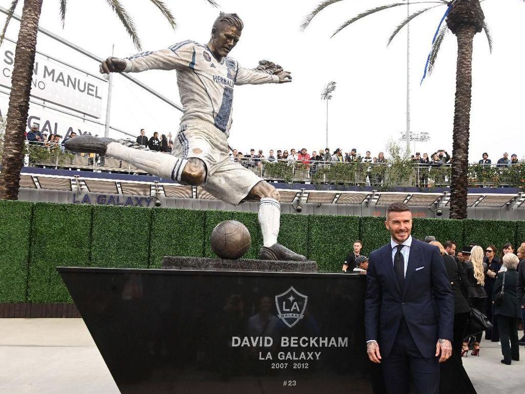 Patung David Beckham Mejeng di Markas LA Galaxy